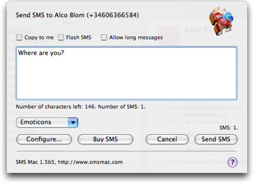 SMS Mac main window